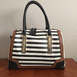 Aldo Satchel Bag Purse Black White Tan Satchel